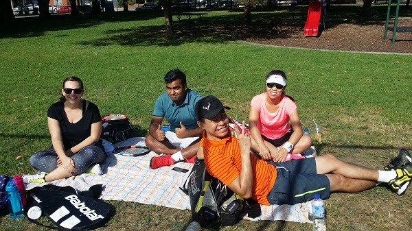 The cool kids waiting for their matches. Usual suspects at our tennis tournaments and other shenanigans.